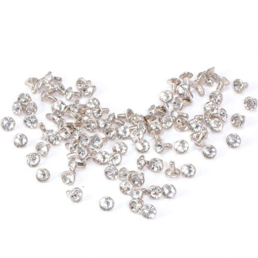 3 opinioni per Tinksky 100pcs 7mm bianco cristallo strass Diamante borchie DIY Punk Rock