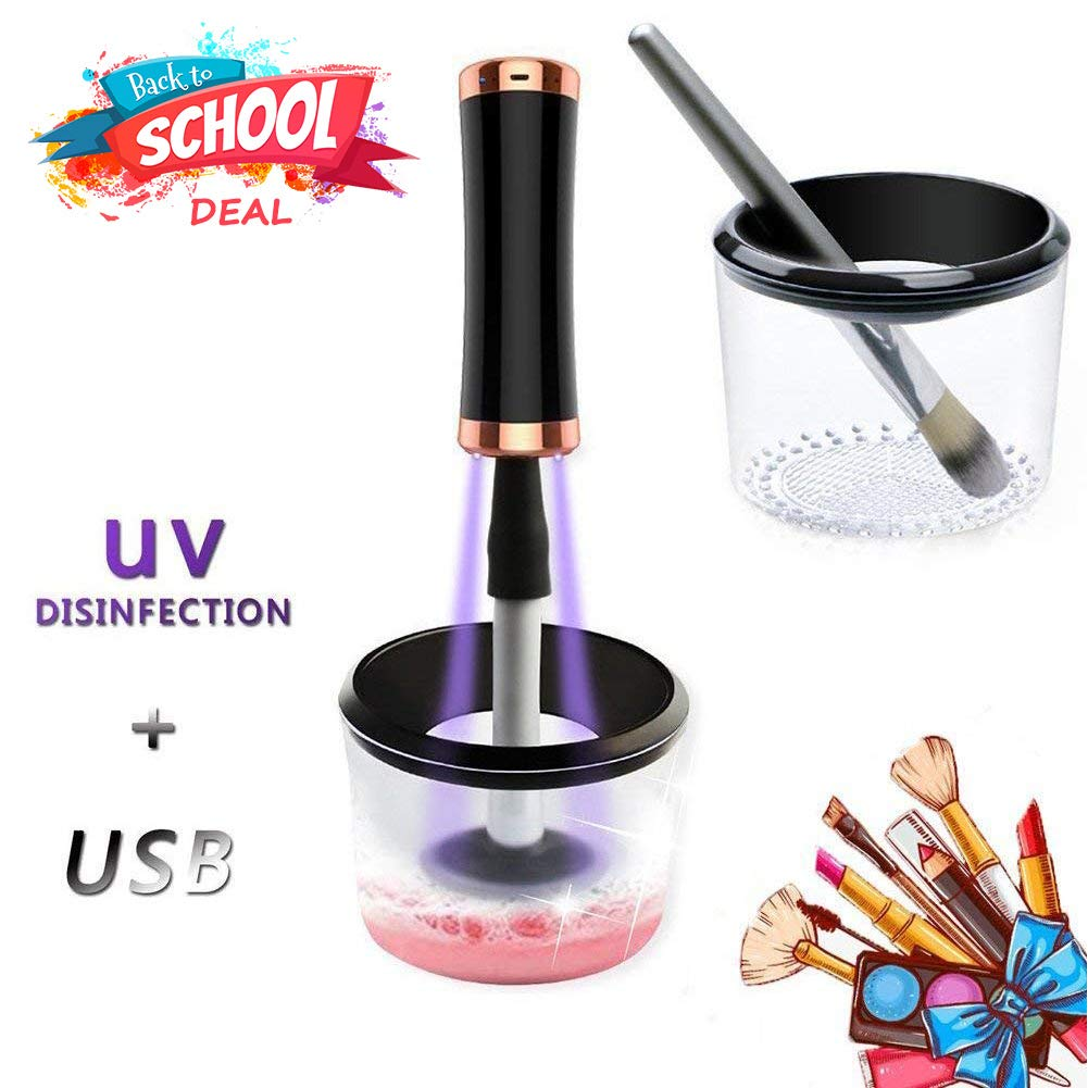 Makeup Brush Cleaner UV Disinfection Light & USB Rechargeable, VIVIDAY Electric Makeup Brush Cleaner and Dryer, Makeup Brush Cleaning Mat, 360 Spin Automatic Machine, Premium Spinner Tool for Brushes
