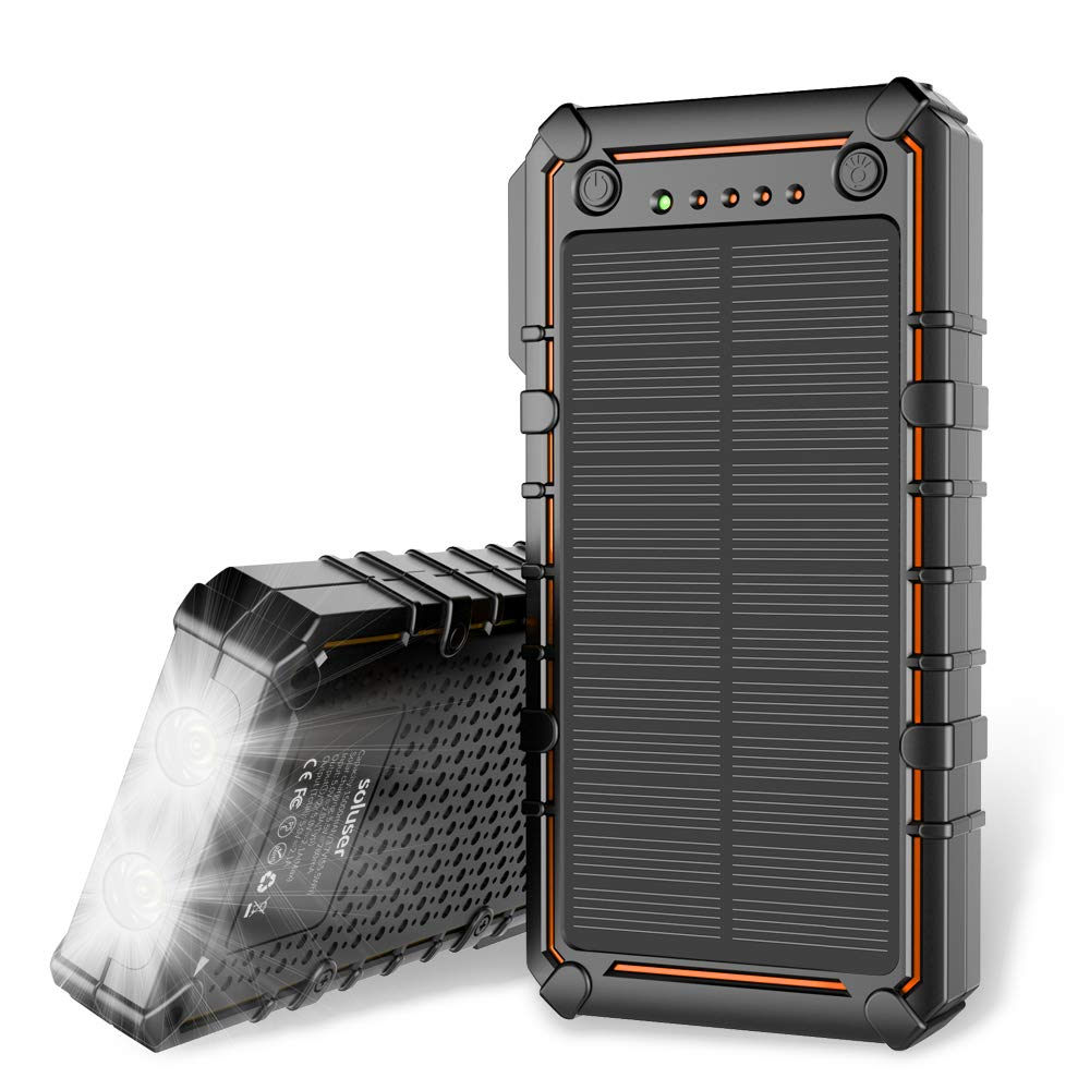 Soluser Solar Charger 15000mAh Solar Power Bank Battery Pack Outdoor Portable Solar External Battery Charger with 2 Led Flashlight for Hiking, ...