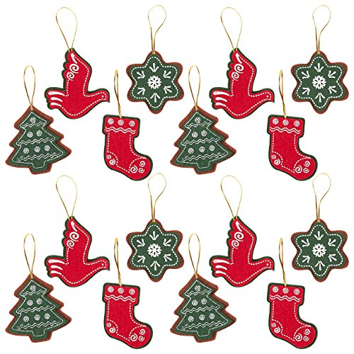 Juvale Pack of 16 Felt Ornament Set - Includes Star, Christmas Tree, Christmas Stocking, Dove - Cute Christmas Ornaments - Ready to Hang on Christmas Tree (Felt Ornaments)
