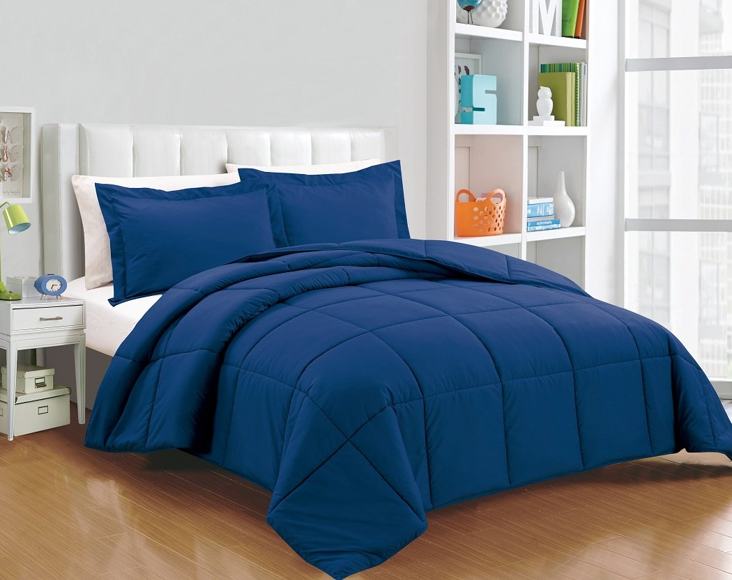 Chezmoi Collection 3-piece Down Alternative Comforter Set (King, Navy