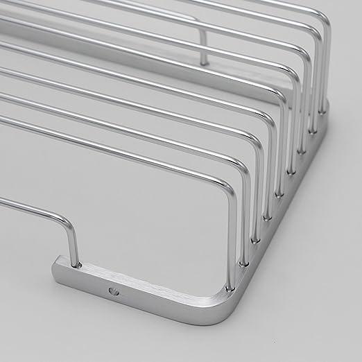 BOEN A1101 Aluminio Para Estantes Organizador Para Cesta de Ducha y Cocina Accesorios de Ba/ño 1 Pisos Montaje en Pared,Plateado