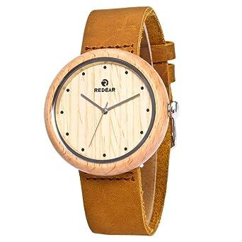 Xlordx Damen Holz Armbanduhr Naturholz Bambus Uhr Quarz Echtes Leder