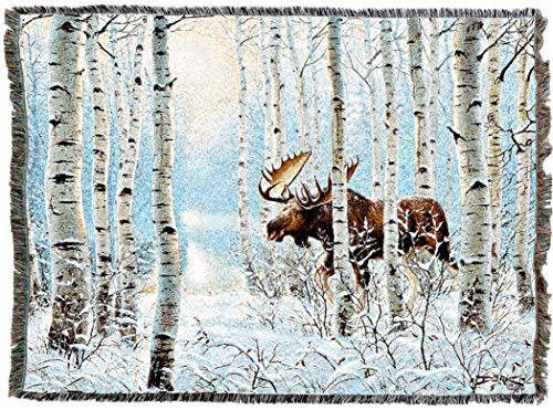 Pure Country Weavers | Moose On The Move Lodge Cabin Hunting Decor Woven Tapestry Throw Blanket with Fringe Cotton USA 72x54 ()