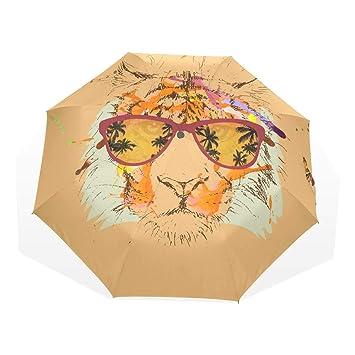 EZIOLY Tiger Hipster Gafas Dibujo Viaje Paraguas Ligero AntiUV Sun Rain Umbrella para Hombre Mujer Niños