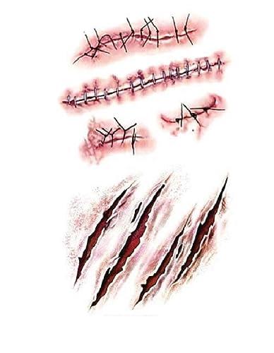 STRASS ET PAILLETTES , Mini Tatouages éphémères cicatrice et plaie  waterproof , Tatoo temporaire , Bijou de peau Halloween