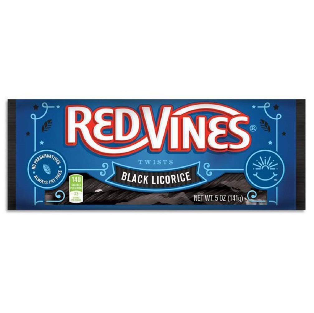 Red Vines Black Licorice Twists, 5oz Tray(12 Pack), Old Fashioned Soft & Chewy Candy, Movie Theater Tray