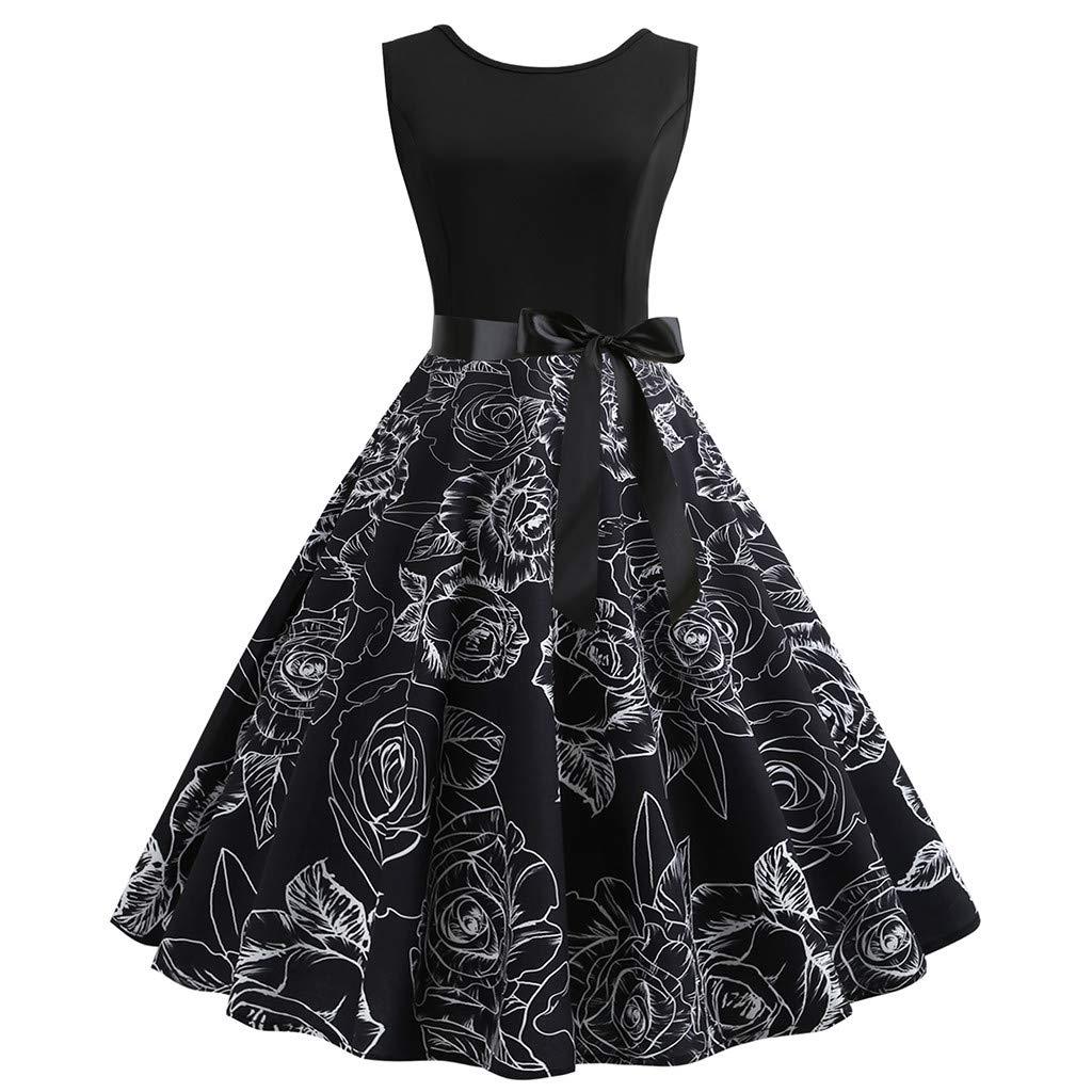 Kobay-Damen Vintage Floral Sleeveless Retro Schwingen Vintage Rockabilly Kleider Petticoat Faltenrock
