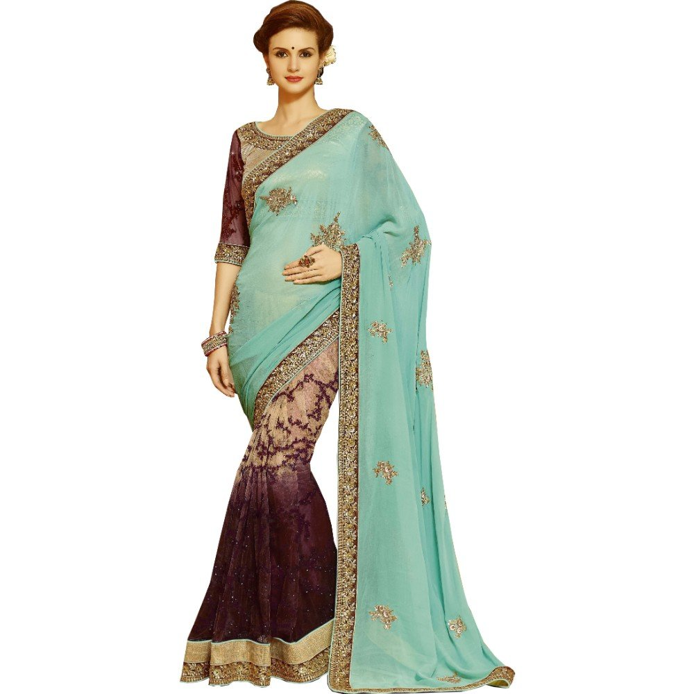 Saree for Women's Designer Bollywood Indian Style Traditional Festival PartyWear Bridal Wedding Half N Half Real Diamond With Embroidery Work Saree Latest Design With Unstiched Blouse(Saree # Sari)