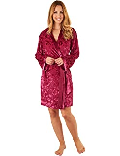 Slenderella GL8713 Women s Raspberry Red Floral Dressing Gown Long Sleeve  Kimono 5d9314562