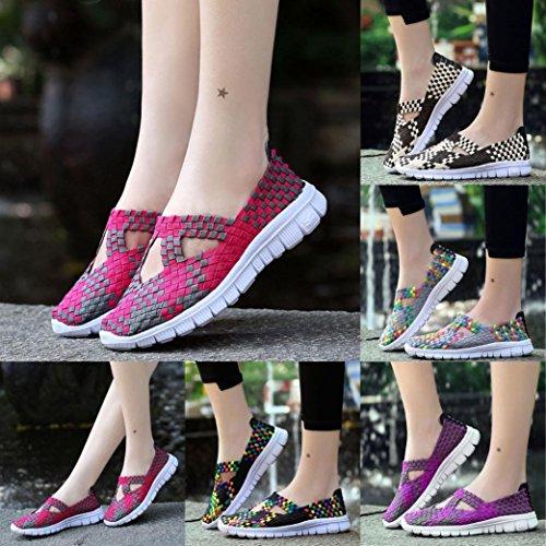Damen Sommer Schuhe Schuhe Woven Mode Atmungsaktive Lazzboy Herbst Wohnungen Casual Violett Laufschuhe qAx5dOWw