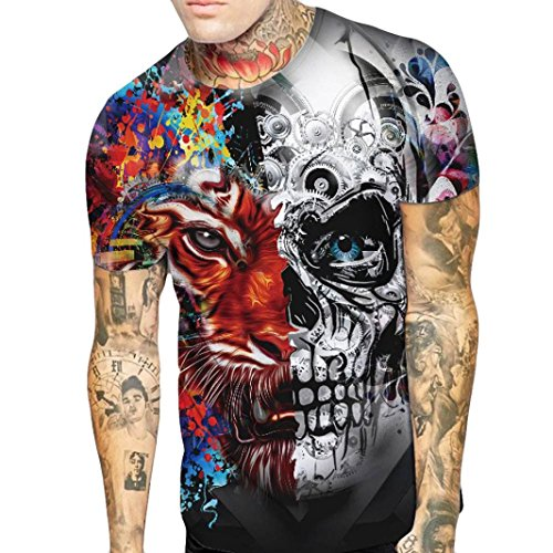 Realdo Skull Tiger Printing Tee Shirts for Men, Casual Slim Short Sleeve Top Couple Suit(Multi,Large) -