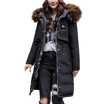 Qiusa Abrigo de Abrigo de Invierno para Mujer Caliente Abrigo de Piel sintética con Capucha Gruesa