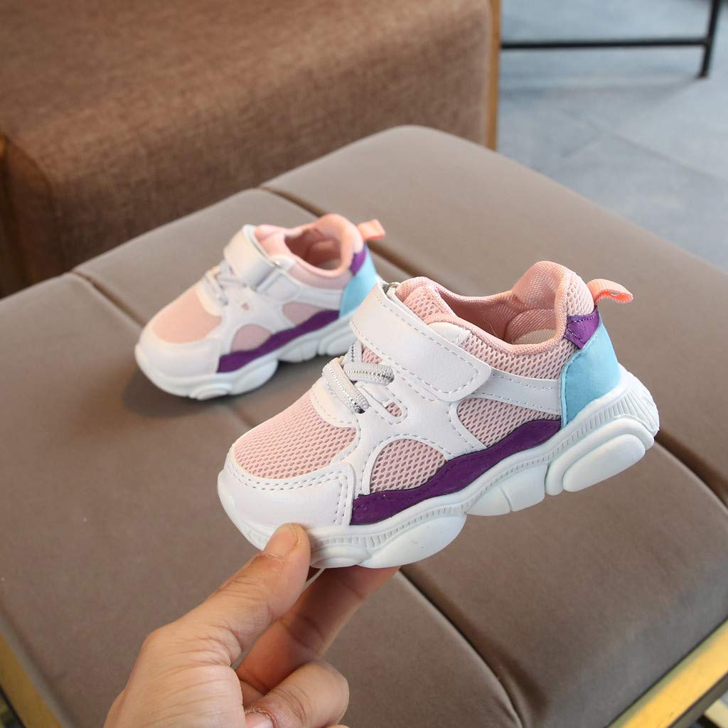 WENSY Toddler Child Baby Child Boys and Girls Color Cartoon Bear Unique Grid Running Sneakers Sports Shoes Casual Shoes