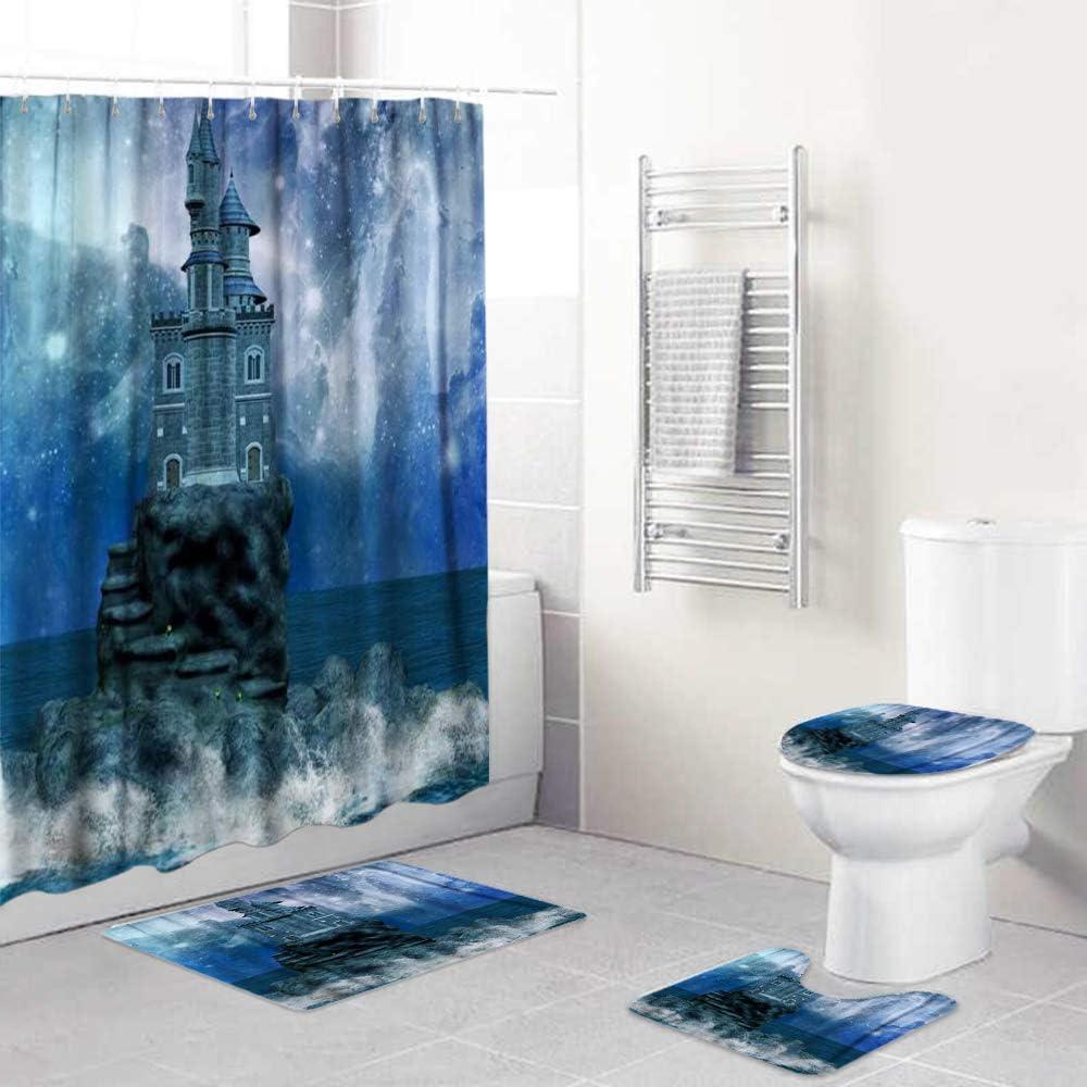 LISUMAL 4 Piezas de Alfombra de baño Antideslizant,Castillo Maravilloso de Navidad en la Isla y la Vía Láctea,Tapa de Inodoro Alfombrilla de baño Cortina de Ducha