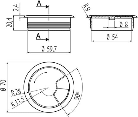 5 x Grommet Ordinateur Bureau Table fil de câble housse plastique trou ø 60mm