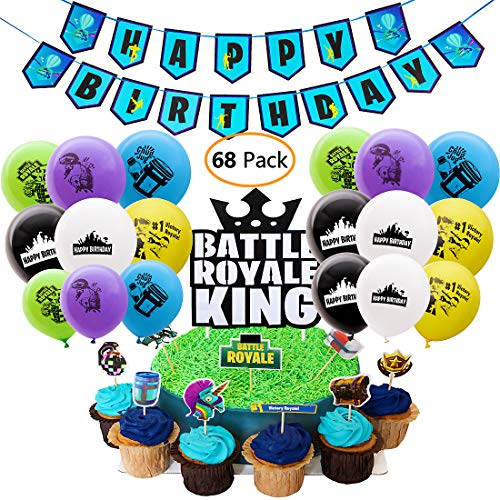 - DMight Birthday Party Supplies for Game Fans, 68 Pcs Party Favors - 49 Pcs Cake Topper, 18 Pcs Balloons(6 styles), 1 Pcs Banner