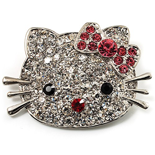 UPC 634558675023, Cute Dazzling Kitten With Pink Bow Brooch (Silver Tone)