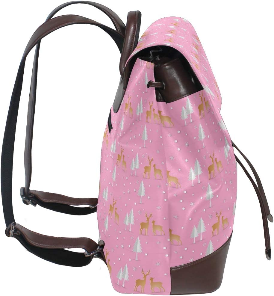 Unisex PU Leather Backpack Xmas Deer with Christmas Snowflakes Pink Print Womens Casual Daypack Mens Travel Sports Bag Boys College Bookbag