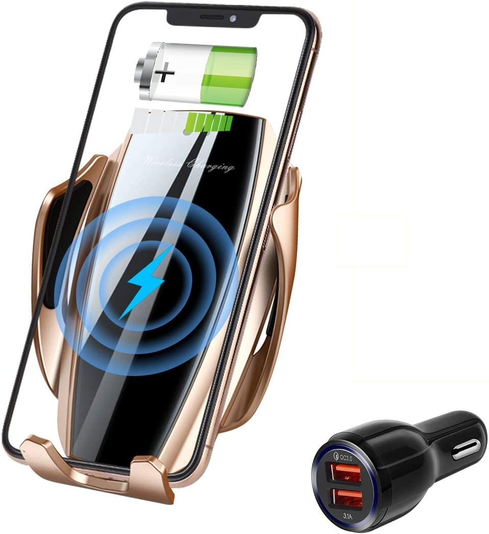 Wireless Charger Car Touch Sensing Automatic Retractable Clip Fast Charging Compatible for iPhone Xs Max/XR/X/8/8Plus Samsung S9/S8/Note 8 (Matte Gold)