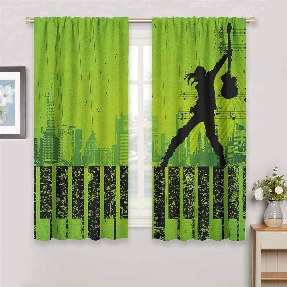Popstar Party Wall Curtain Music in The City Theme Singer with Electric Guitar on Grunge Backdrop Curtains Lime Green Black 72 x 45 inch by Jinguizi