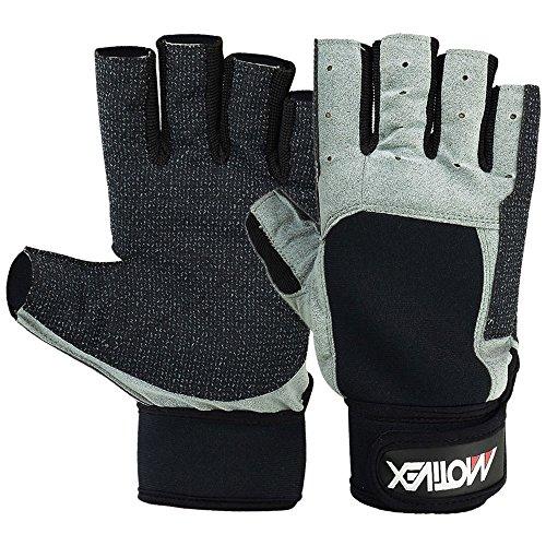 Deckhand Gloves - MRX BOXING & FITNESS SAILING GLOVES Deckhand Gripy Glove Short Finger (Grey/Black, L)