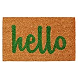"Home & More Natural/Green Script Hello Doormat, 1'5"" x 2'5"""