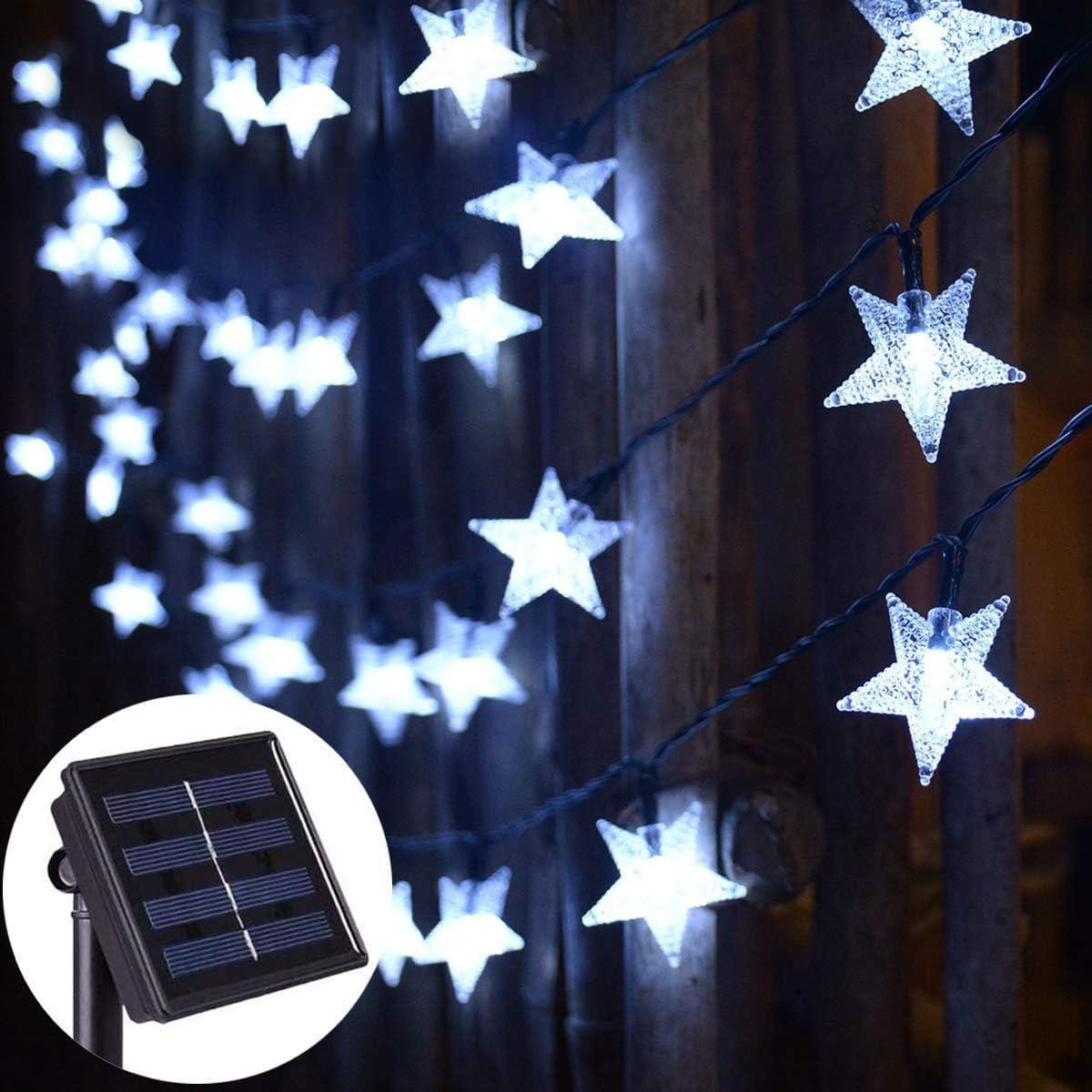 Abkshine Solar Powered Fairy Lights,Cool White Waterproof Solar Patio Umbrella Summer Lights, 30ft 50 LED Solar String Lights for Christmas Garden Yard Decoration