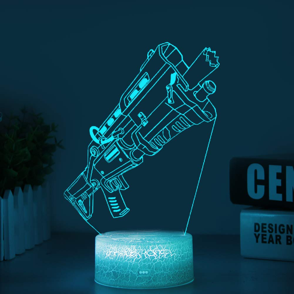 Battle Royale LED Lamp Lights Changeable USB Touch Lampada 3D Visual  Bulbing lampen Children's Room Decor Holiday Light (Crack Tactial Shotgun)