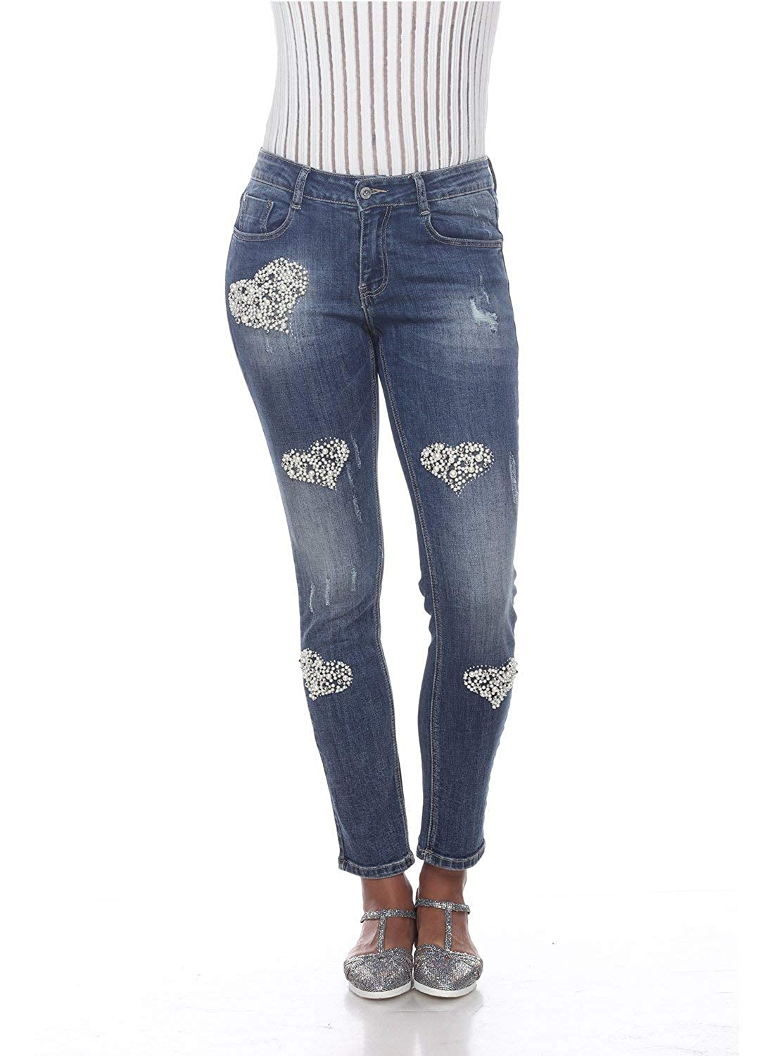 Womens Mid Wash Jeans with Heart Shaped Details Tesoro Moda