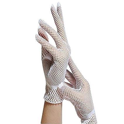 LIOOBO 1 par para Mujer Guantes de Encaje Patr/ón Floral Guantes Cortos de Novia Guantes de protecci/ón UV de Verano para el Vestido de conducci/ón de la Boda Opera Party Blanco