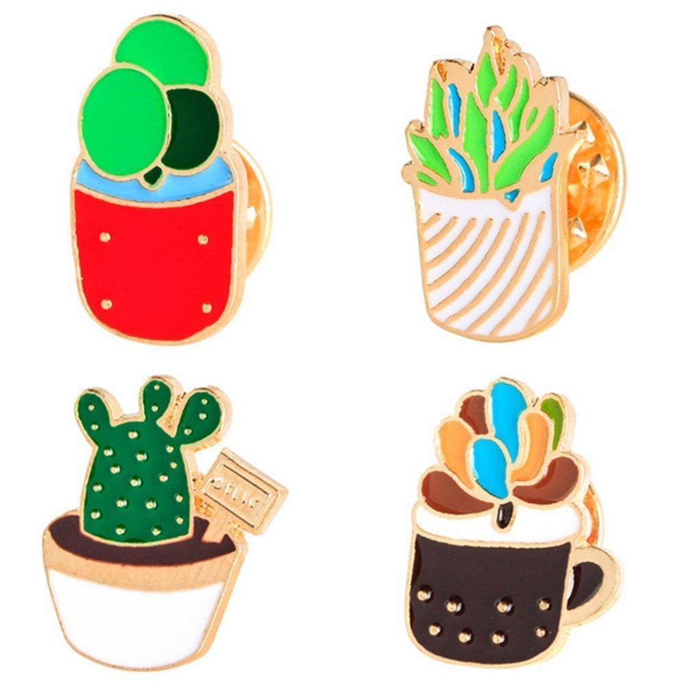 Westeng 4pcs metallo spilla di lovely cactus Christmas festive spilla pin corpetto per tuta camicia maglione