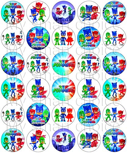 30 x Edible Cupcake Toppers - PJ Masks Themed Collection of Edible Cake Decorations | Uncut Edible Prints on Wafer Sheet