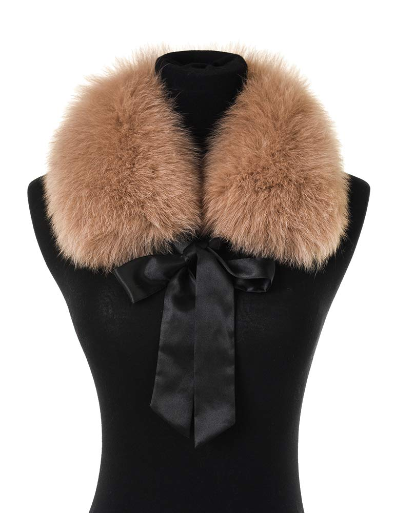 Ferand Ladies Stylish Genuine Fox Fur Collar Scarf with Satin Ribbon - Camel