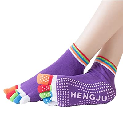 3 Pairs Cotton Yoga Socks Anti-skid Sports Five-finger Colorful Woman Stocking