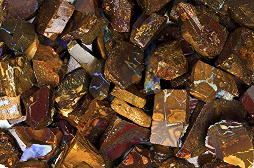Boulder Opal - Fantasia Materials: 60-75 ct Premium Yowah Boulder Opal Slice - A Grade - Raw Natural Crystals for Cabbing, Cutting, Lapidary, Polishing, Wire Wrapping, Wicca and Reiki Crystal Healing