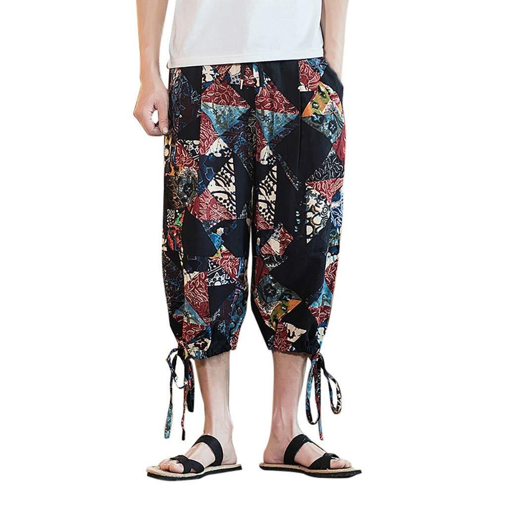 Mens Cotton Linen Loose Pants,Donci Fashion Colorful Printed Wide Crotch Hawaii Beach Casual Shorts