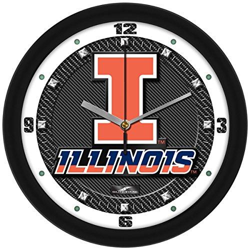 Fighting Illinois Glass Illini (SunTime NCAA Illinois Fighting Illini Textured Carbon Fiber Wall Clock)
