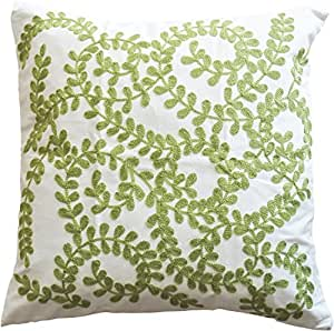 """Green Vine Embroidery Decorative Throw Pillow COVER 18"""" Green White"""