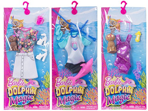 Barbie Dolphin Magic Fashion 3 Pack ( BYO-Barbeque Set, Snorkel Set and Tropical Set )