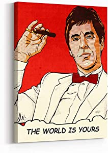 Inktuitive 'Tony's World' Inspirational Wall Art   Scarface The World is Yours Canvas Print   Motivational Décor for Bedroom, Living Room & Business Office   16 x 12 inches