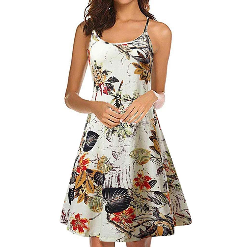 Euone Dress Clearance, Women's Vintage Printed Sleeveless Strappy Summer Beach Swing Camis Dress