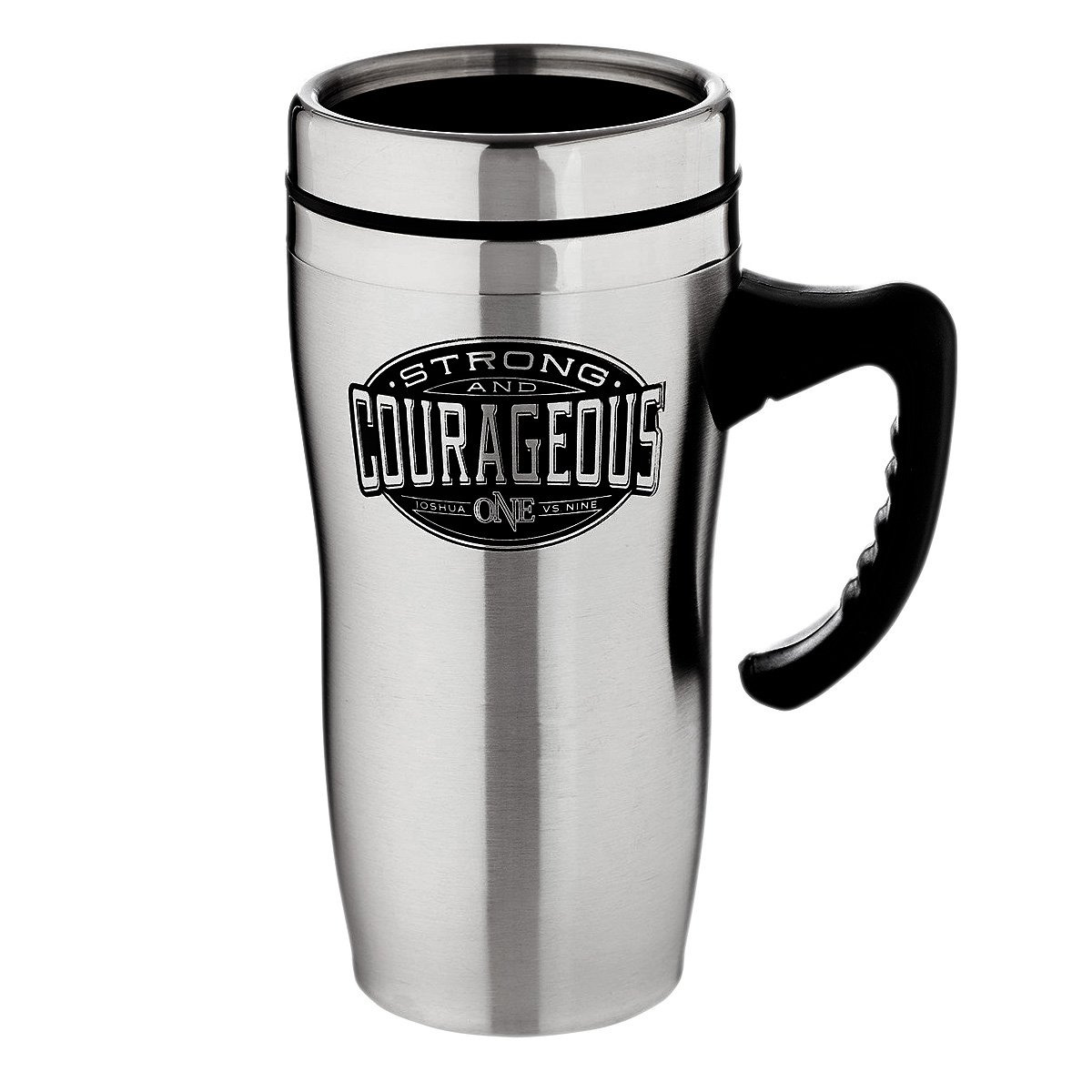 Be Strong and Courageous Collection Stainless Steel Travel Mug w/Handle - Joshua 1:9