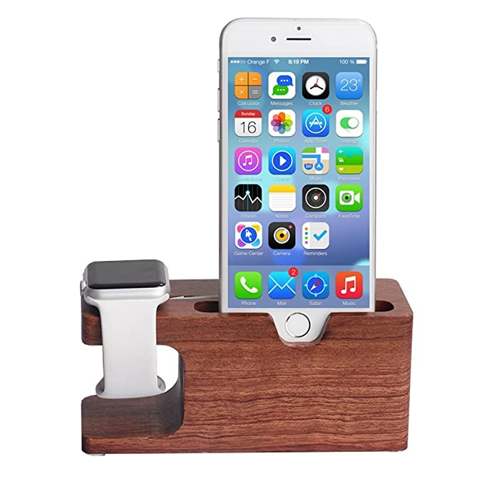 Madera Soporte para Apple Watch, voocase 2 en 1 Bambú carga ...