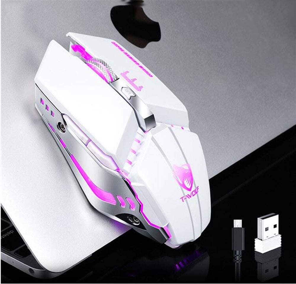 ZHM Wireless Mouse USB Charging Silent Luminescent Game Mouse,Pearlwhite