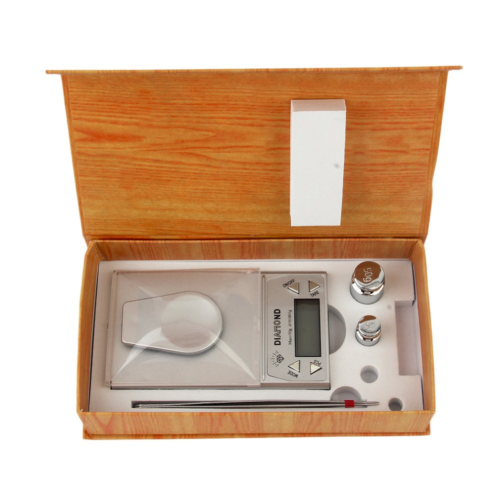 1pcs 50G 0.001g LCD Digital Jewelry Scale Blue Backlight Weight Gram