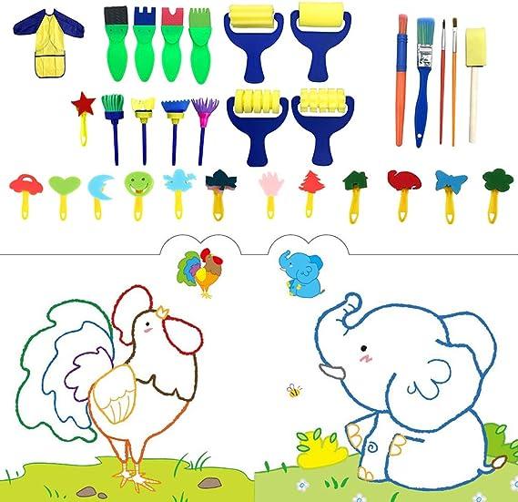 28x Sponge Painting Brush Educational Painting Tool Set for Toddler Children