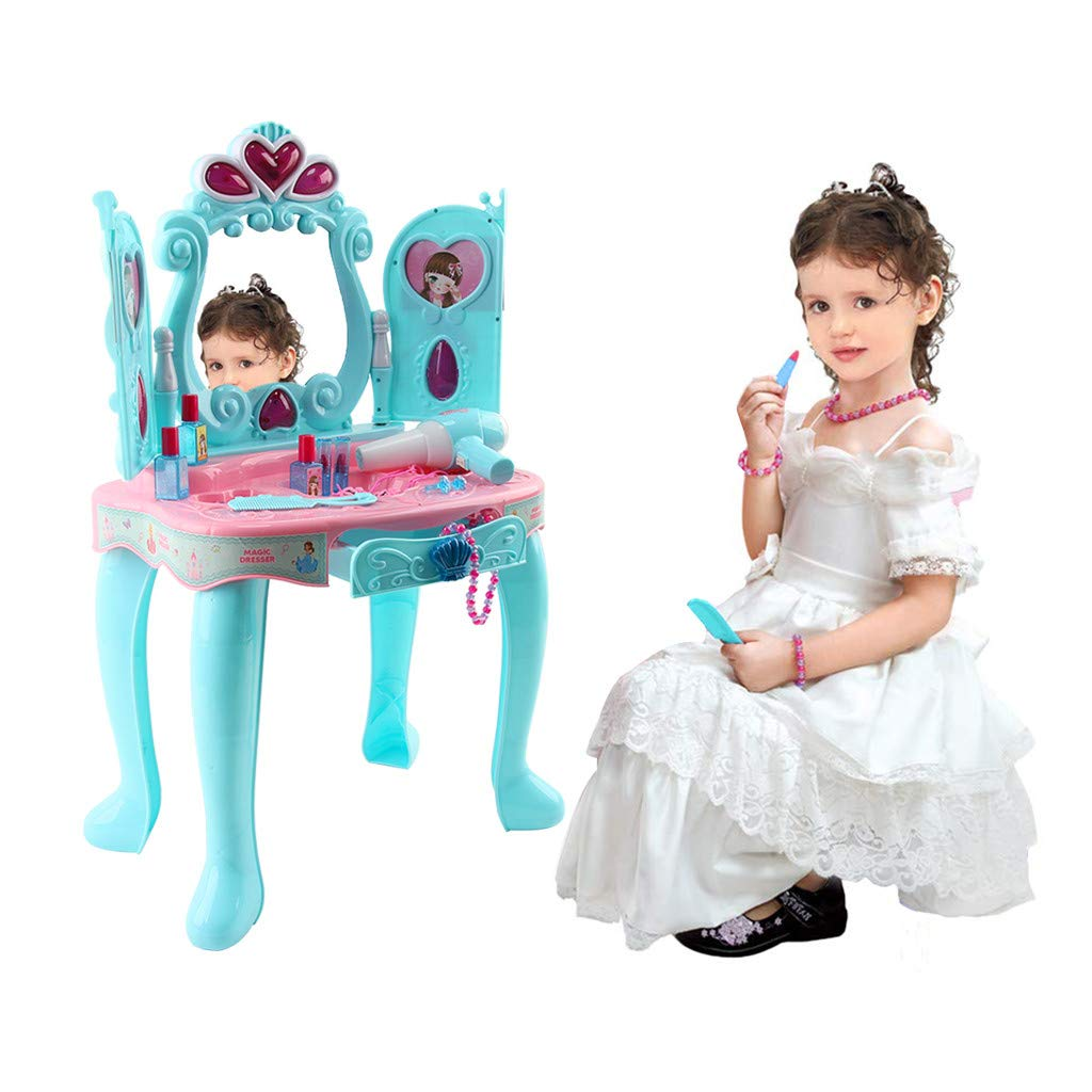 Dresser Vanity Beauty Set Princess Pretend Play Dressing Table Top Set with Makeup Mirror, Jewelry and Accessories | Music and Lights for Little Girls (Light Blue)