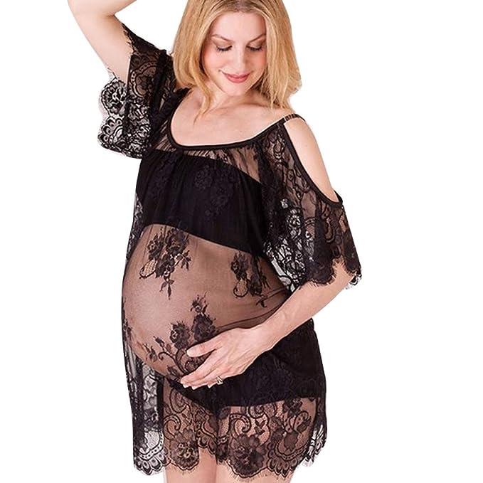 Logobeing Mujer Vestido Embarazada Fotografia Boda de Los Hombros Vestido de Enfermería de Encaje Vestidos Sin