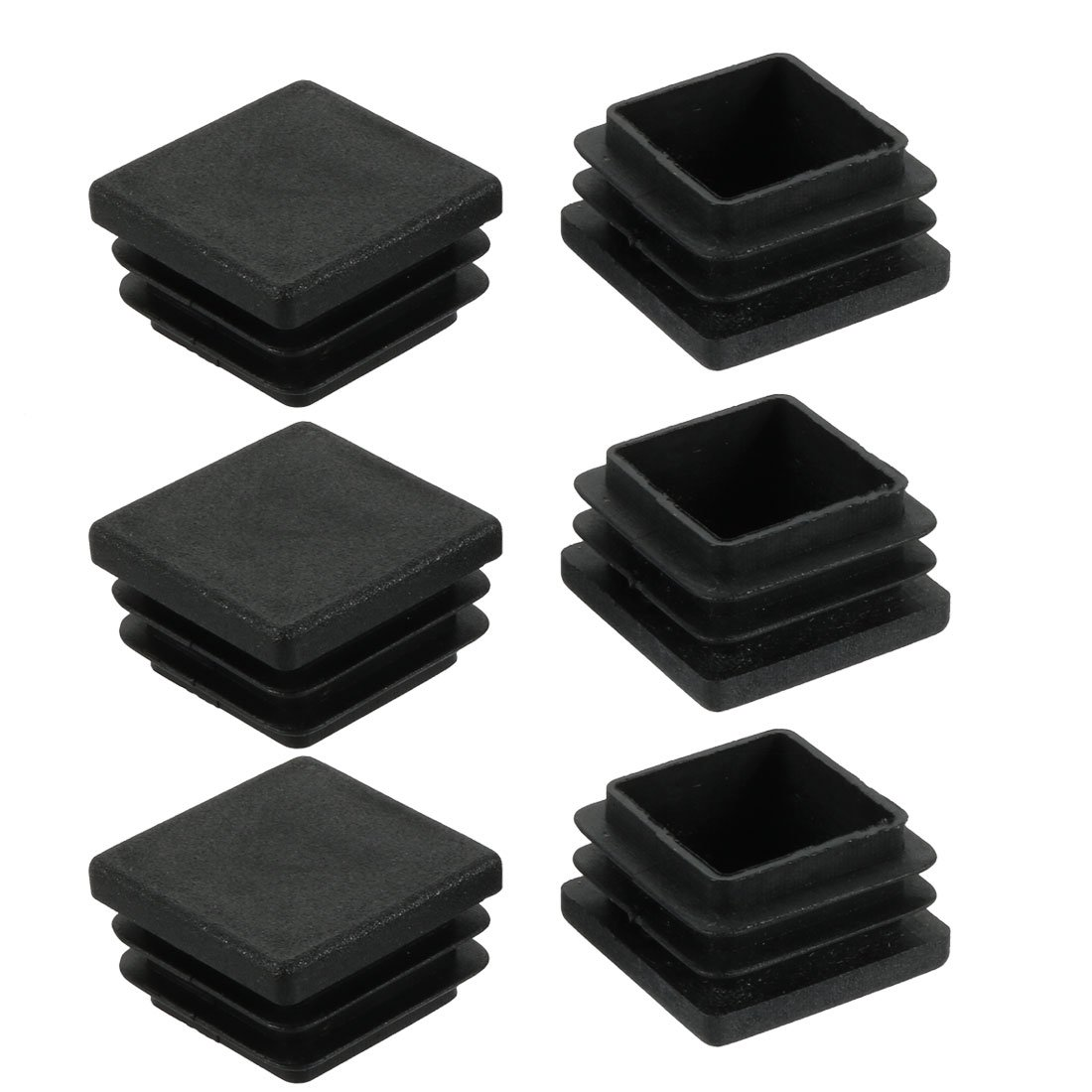 sourcingmap 6pcs Furniture Legs Protector Plastic Square Tube Inserts Cap Black 28mm x 28mm a17112700ux1280